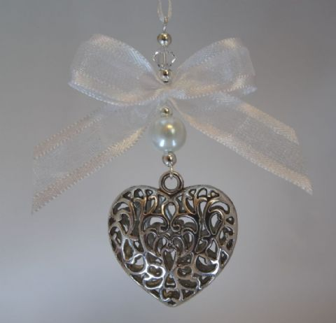 Silver Tone Tibetan Heart,  White Pearl Bead, Bow & Crystal - Xmas Tree Decoration
